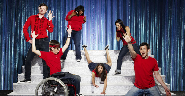 "Chris Colfer, Amber Riley, Jenna Ushkowitz, Kevin McHale, Lea Michele, and Cory Monteith of ""Glee"""