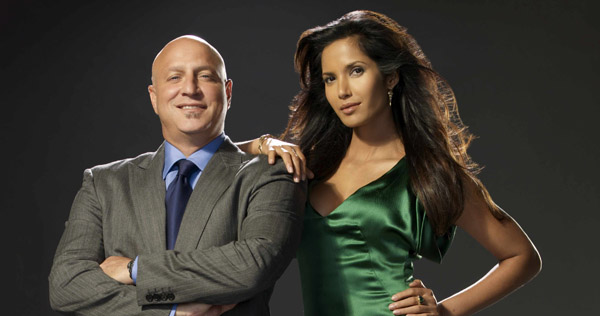 "Tom Colicchio and Padma Lakshmi of ""Top Chef"""